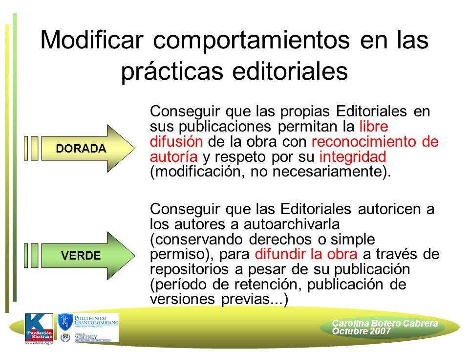 Carolina Botero Cabrera Octubre 2007 Licencias Creative Commons