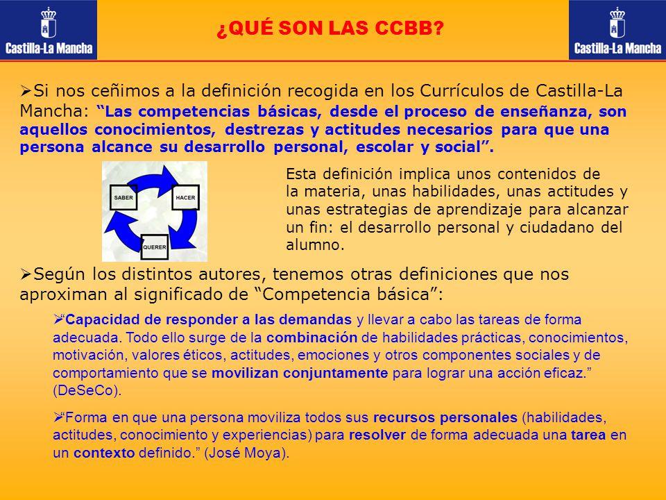¿QUÉ SON LAS CCBB? Si nos ceñimos a la definición recogida en los Currículos de Castilla-La Mancha: Las competencias básicas, desde el proceso de ense