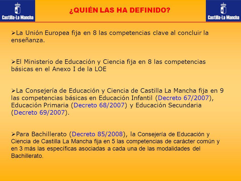¿QUIÉN LAS HA DEFINIDO? La Unión Europea fija en 8 las competencias clave al concluir la enseñanza. El Ministerio de Educación y Ciencia fija en 8 las