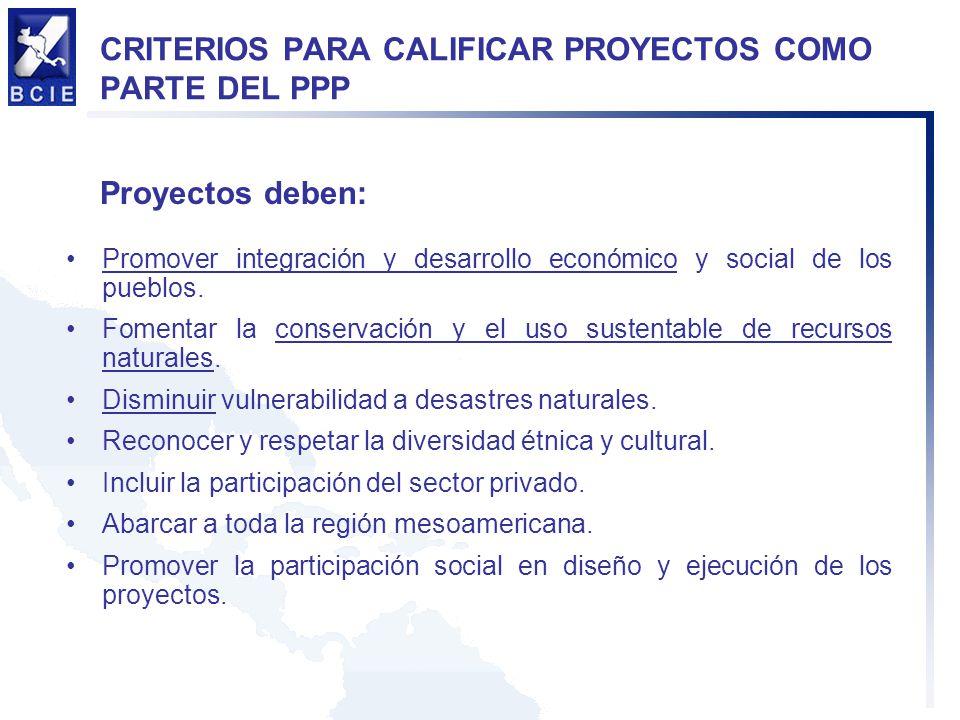 CRITERIOS PARA CALIFICAR PROYECTOS COMO PARTE DEL PPP Promover integración y desarrollo económico y social de los pueblos. Fomentar la conservación y