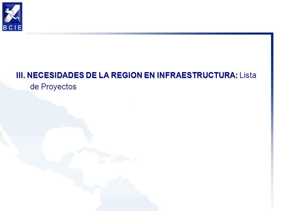 III. NECESIDADES DE LA REGION EN INFRAESTRUCTURA: III. NECESIDADES DE LA REGION EN INFRAESTRUCTURA: Lista de Proyectos