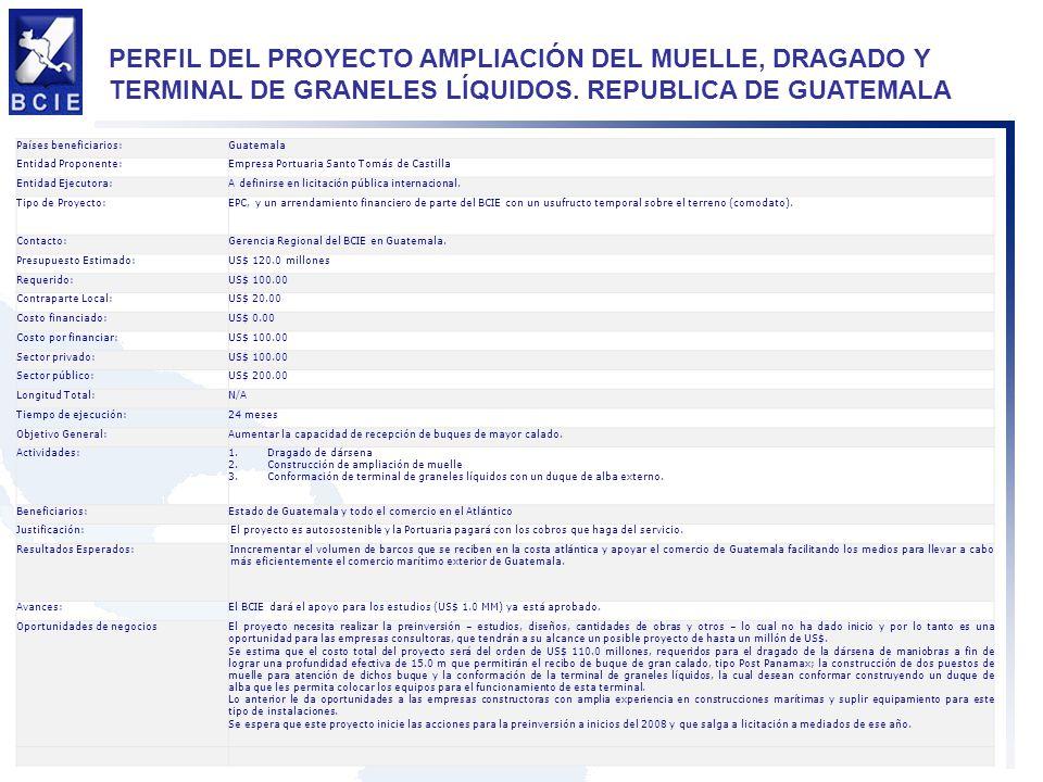 PERFIL DEL PROYECTO AMPLIACIÓN DEL MUELLE, DRAGADO Y TERMINAL DE GRANELES LÍQUIDOS. REPUBLICA DE GUATEMALA Países beneficiarios:Guatemala Entidad Prop