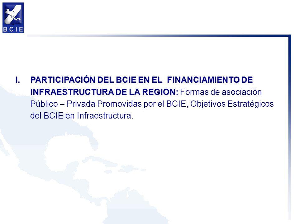 I.PARTICIPACIÓN DEL BCIE EN EL FINANCIAMIENTO DE INFRAESTRUCTURA DE LA REGION: I.PARTICIPACIÓN DEL BCIE EN EL FINANCIAMIENTO DE INFRAESTRUCTURA DE LA