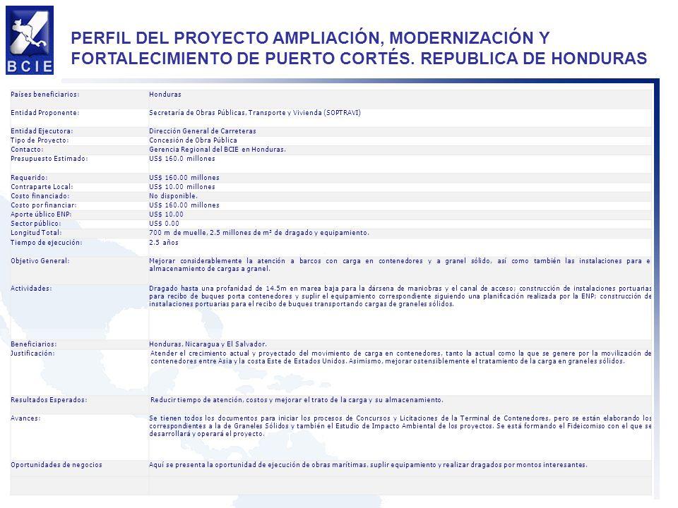PERFIL DEL PROYECTO AMPLIACIÓN, MODERNIZACIÓN Y FORTALECIMIENTO DE PUERTO CORTÉS. REPUBLICA DE HONDURAS Países beneficiarios:Honduras Entidad Proponen