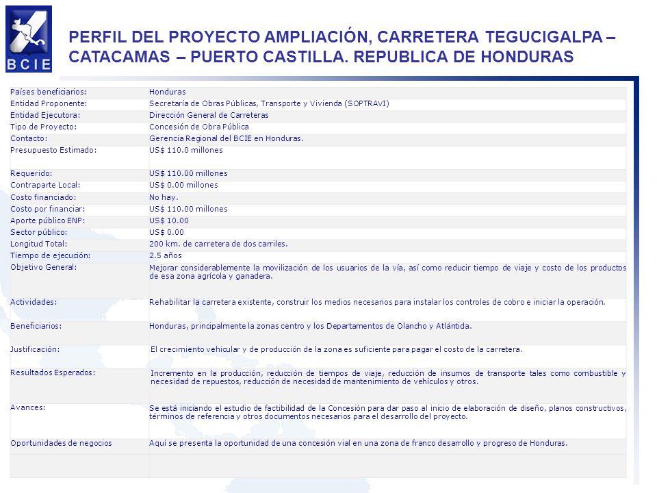 PERFIL DEL PROYECTO AMPLIACIÓN, CARRETERA TEGUCIGALPA – CATACAMAS – PUERTO CASTILLA. REPUBLICA DE HONDURAS Países beneficiarios:Honduras Entidad Propo