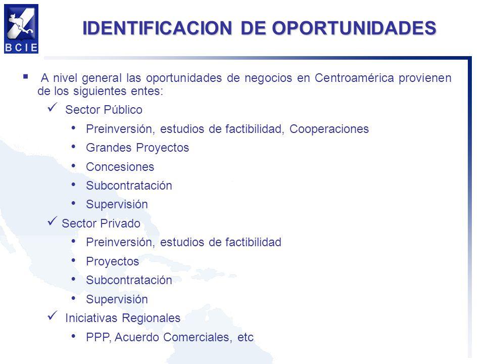 IDENTIFICACION DE OPORTUNIDADES A nivel general las oportunidades de negocios en Centroamérica provienen de los siguientes entes: Sector Público Prein