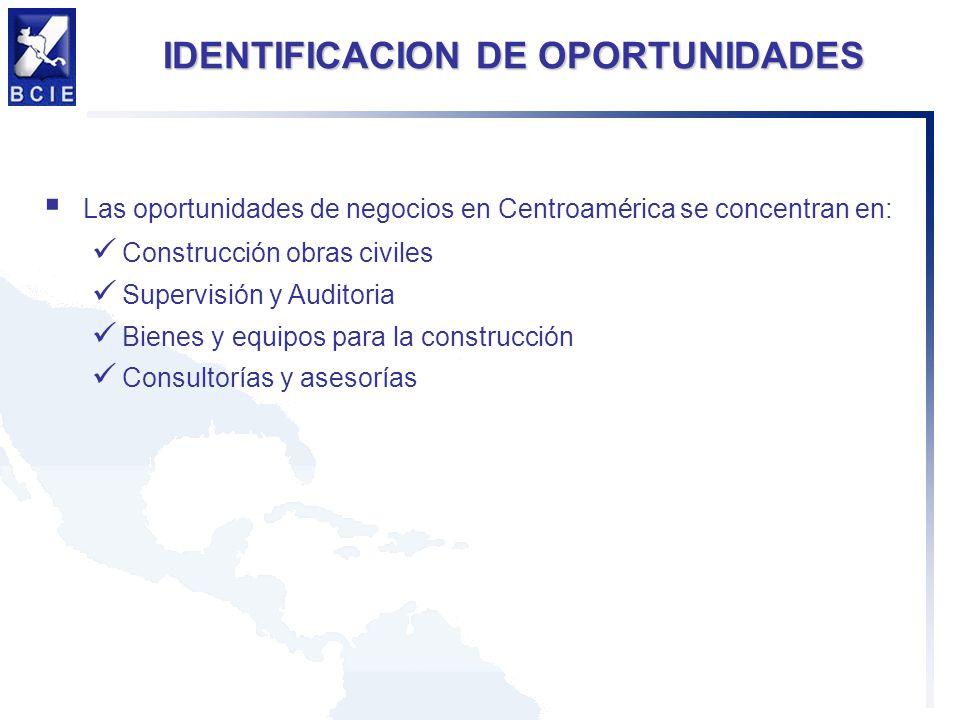 IDENTIFICACION DE OPORTUNIDADES Las oportunidades de negocios en Centroamérica se concentran en: Construcción obras civiles Supervisión y Auditoria Bi