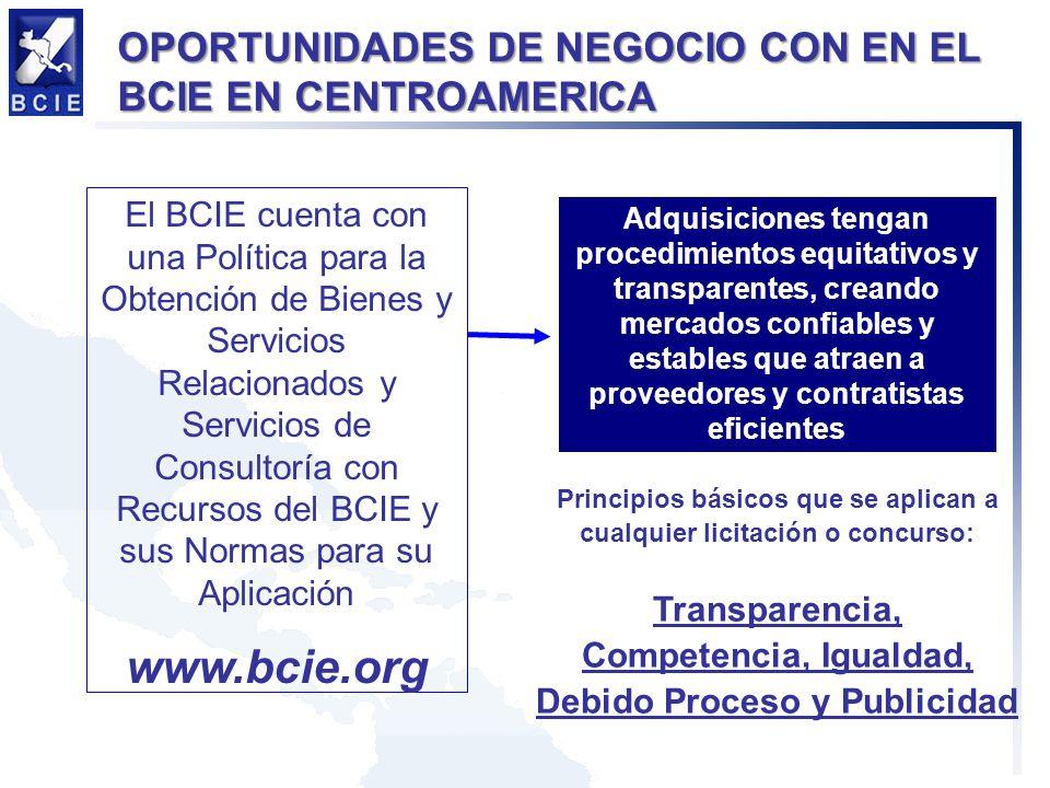El BCIE cuenta con una Política para la Obtención de Bienes y Servicios Relacionados y Servicios de Consultoría con Recursos del BCIE y sus Normas par