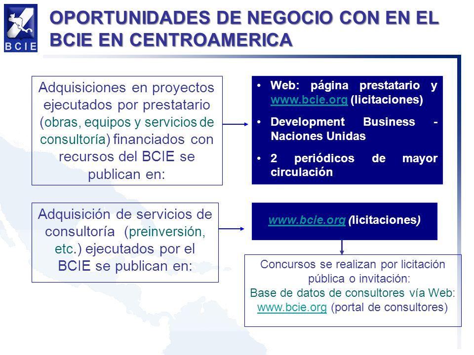 Adquisiciones en proyectos ejecutados por prestatario ( obras, equipos y servicios de consultoría ) financiados con recursos del BCIE se publican en: