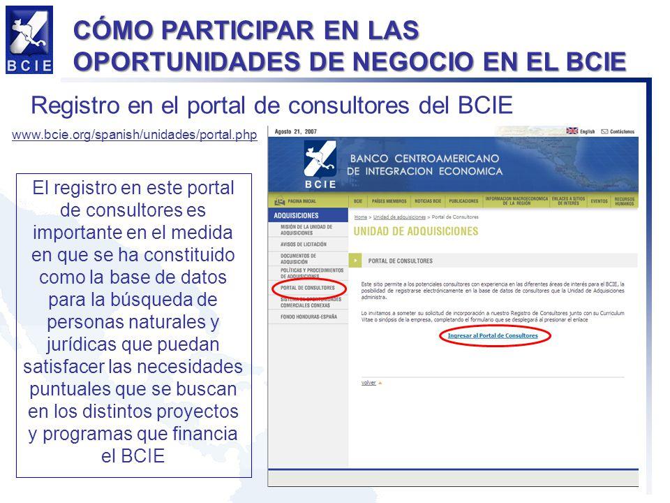 CÓMO PARTICIPAR EN LAS OPORTUNIDADES DE NEGOCIO EN EL BCIE Registro en el portal de consultores del BCIE www.bcie.org/spanish/unidades/portal.php El r