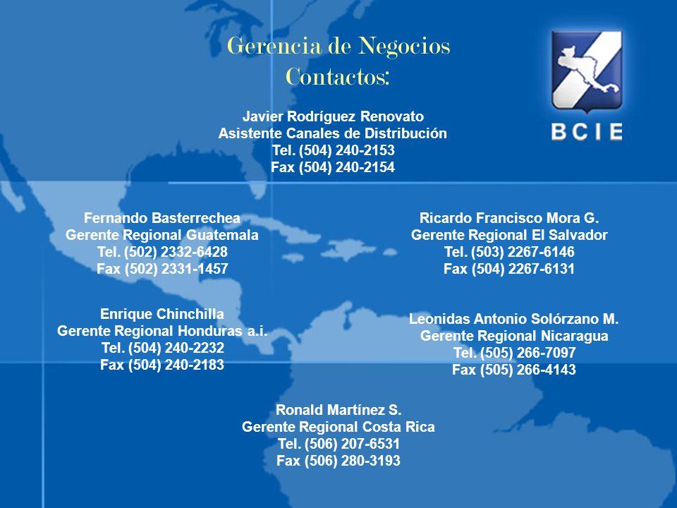 Gerencia de Negocios Contactos: Javier Rodríguez Renovato Asistente Canales de Distribución Tel. (504) 240-2153 Fax (504) 240-2154 Fernando Basterrech