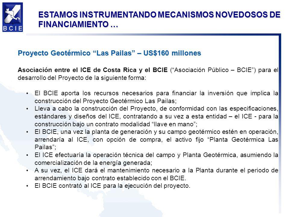 ESTAMOS INSTRUMENTANDO MECANISMOS NOVEDOSOS DE FINANCIAMIENTO … Proyecto Geotérmico Las Pailas – US$160 millones Asociación entre el ICE de Costa Rica