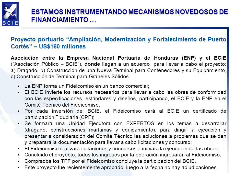 ESTAMOS INSTRUMENTANDO MECANISMOS NOVEDOSOS DE FINANCIAMIENTO … Proyecto portuario Ampliación, Modernización y Fortalecimiento de Puerto Cortés – US$1