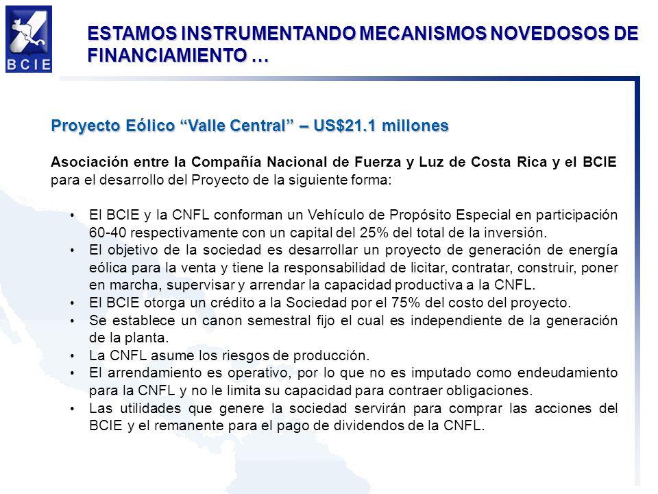 Proyecto Eólico Valle Central – US$21.1 millones Asociación entre la Compañía Nacional de Fuerza y Luz de Costa Rica y el BCIE para el desarrollo del