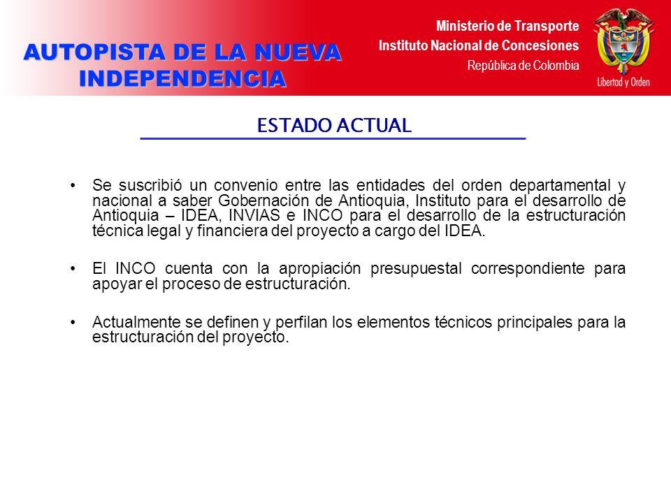 Ministerio de Transporte Instituto Nacional de Concesiones República de Colombia CONCESIÓN VIAL AUTOPISTA MARGINAL DEL CARIBE