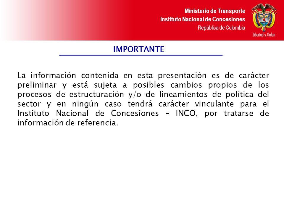Ministerio de Transporte Instituto Nacional de Concesiones República de Colombia NUEVOS PROYECTOS DE CONCESIÓN VIAL 1.Proyecto de Concesión Autopista Ruta del Sol.