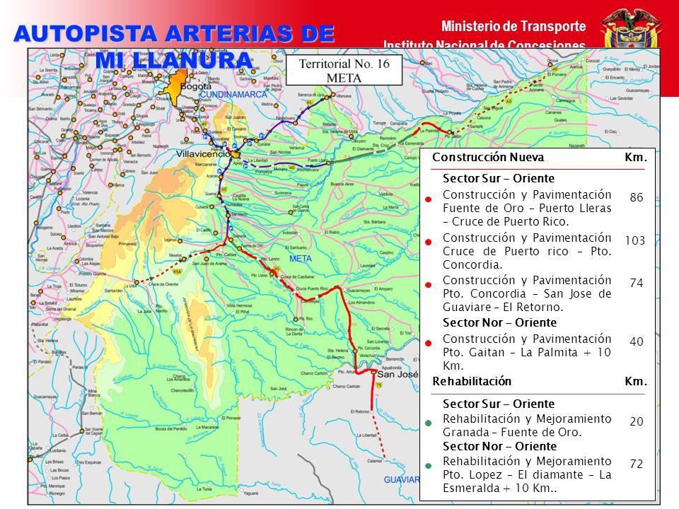 Ministerio de Transporte Instituto Nacional de Concesiones República de Colombia DATOS DEL PROYECTO Longitud total en rehabilitación de vía existente Numero de Peajes TPDA (2008) Todos Los Peajes Ingresos Anuales Promedio (Pesos 2005) Valor estimado de la Inversión (Pesos 2005) 5 COP 391.969 M COP 32.693 M 620 Km.