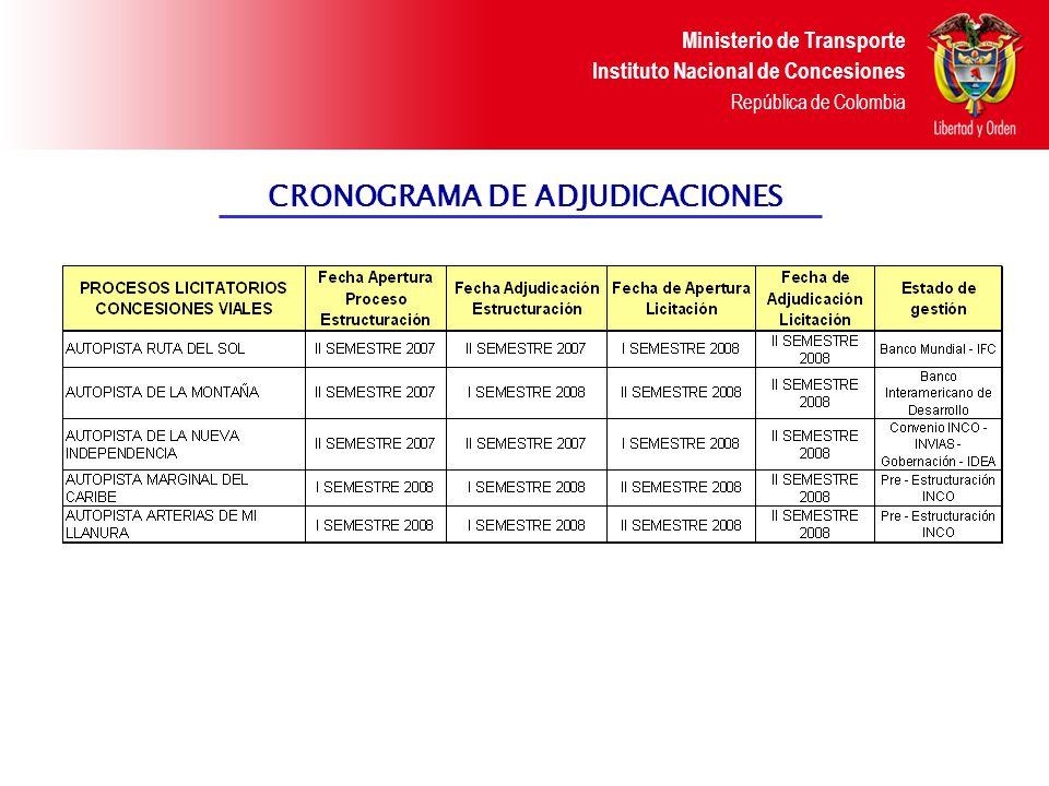 Ministerio de Transporte Instituto Nacional de Concesiones República de Colombia CRONOGRAMA DE ADJUDICACIONES