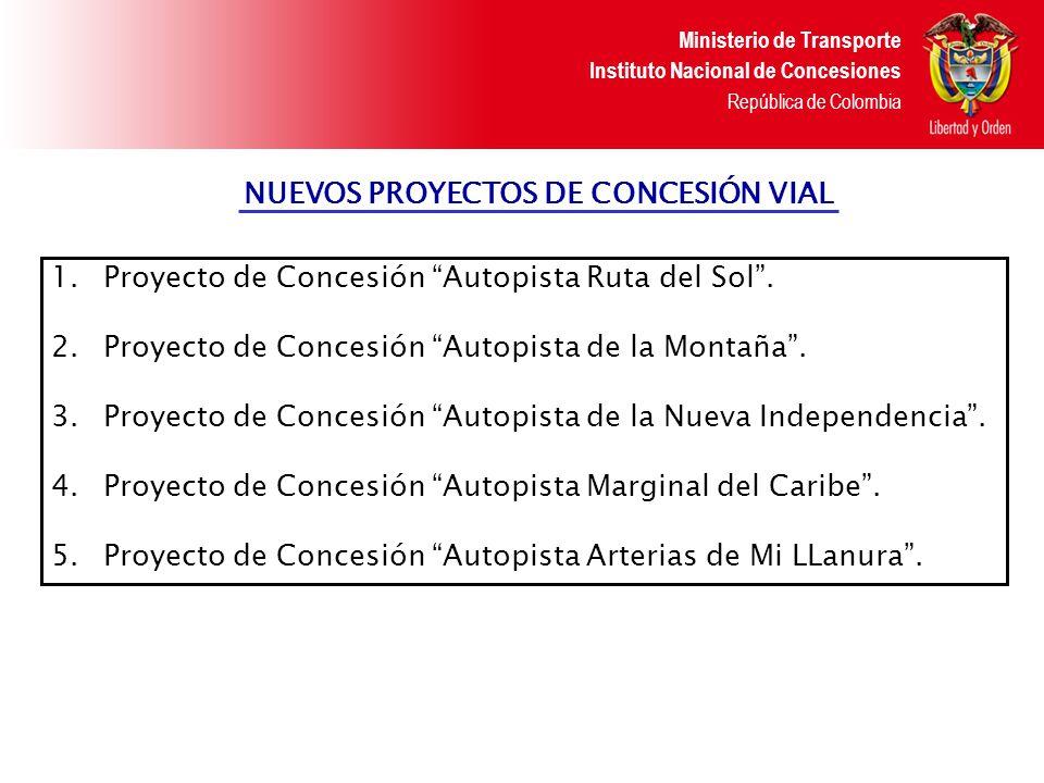 Ministerio de Transporte Instituto Nacional de Concesiones República de Colombia CONCESIÓN VIAL AUTOPISTA RUTA DEL SOL