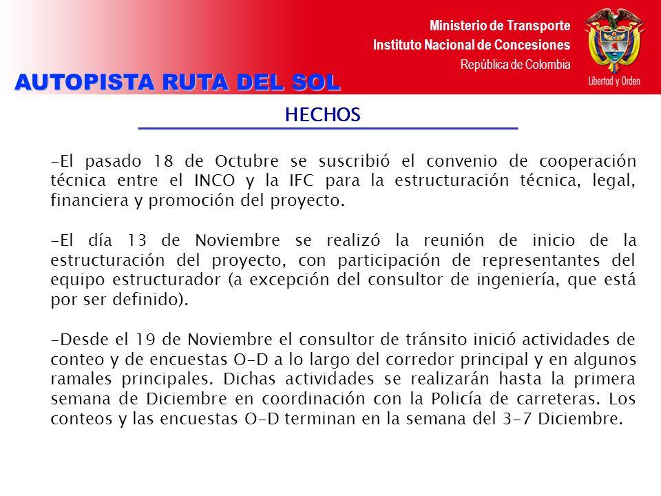 Ministerio de Transporte Instituto Nacional de Concesiones República de Colombia Actividades inmediatas - El 5 de Diciembre se llevo a cabo Teleconferencia para los resultados de la Evaluación de las propuestas de la consultoría en ingeniería, se presentaron dos proponentes: Ya se tiene resultado de la evaluación y la IFC, inicia proceso de negociación con el consultor seleccionado -El 5 de Diciembre, se llevo a cabo reunión con IGAC para acceder a información necesaria para los consultores sociales & prediales.