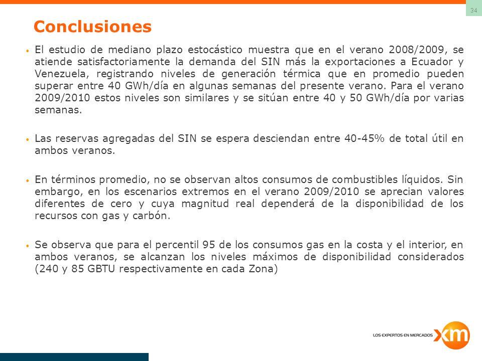 34 Conclusiones El estudio de mediano plazo estocástico muestra que en el verano 2008/2009, se atiende satisfactoriamente la demanda del SIN más la ex