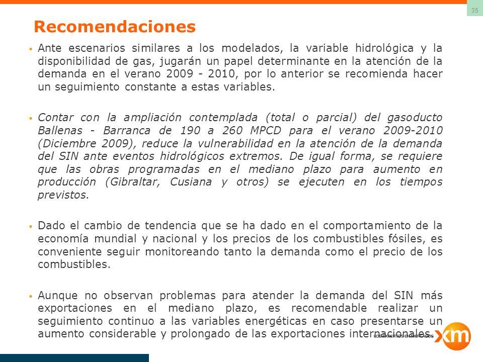 35 Recomendaciones Ante escenarios similares a los modelados, la variable hidrológica y la disponibilidad de gas, jugarán un papel determinante en la