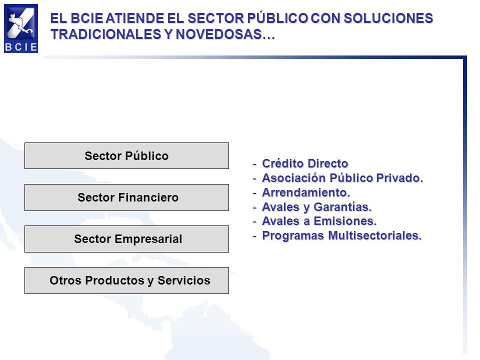 Sector Público Sector Financiero Sector Empresarial Otros Productos y Servicios -Crédito Directo -Asociación Público Privado.