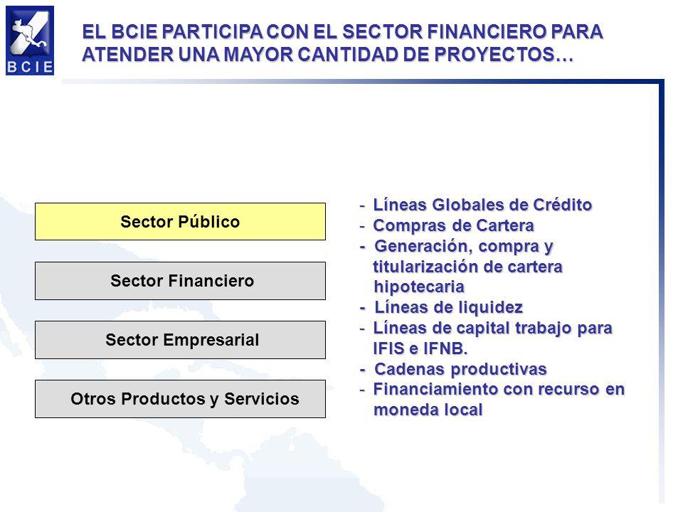 -Líneas Globales de Crédito -Compras de Cartera - Generación, compra y titularización de cartera hipotecaria hipotecaria - Líneas de liquidez -Líneas de capital trabajo para IFIS e IFNB.
