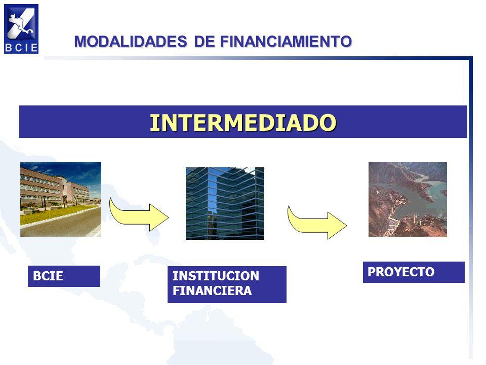 MODALIDADES DE FINANCIAMIENTO INTERMEDIADO BCIE INSTITUCION FINANCIERA PROYECTO