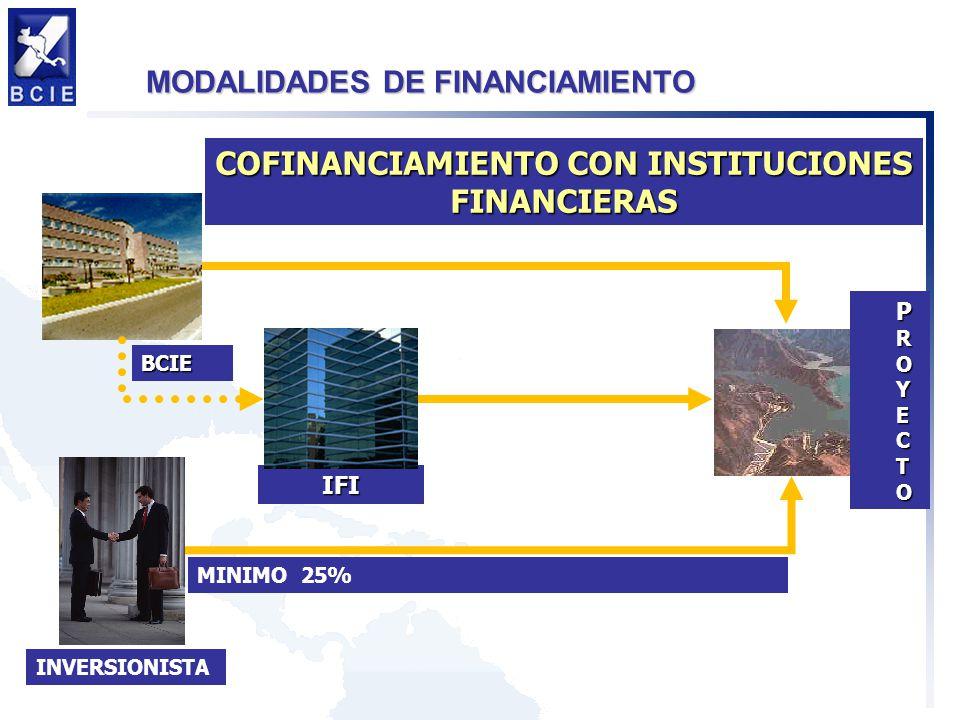 MODALIDADES DE FINANCIAMIENTO BCIE PROYECTO IFI INVERSIONISTA MINIMO 25% COFINANCIAMIENTO CON INSTITUCIONES FINANCIERAS