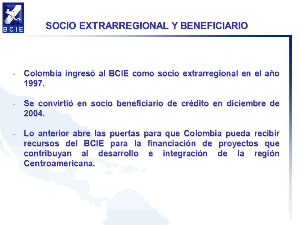 -Colombia ingresó al BCIE como socio extrarregional en el año 1997.