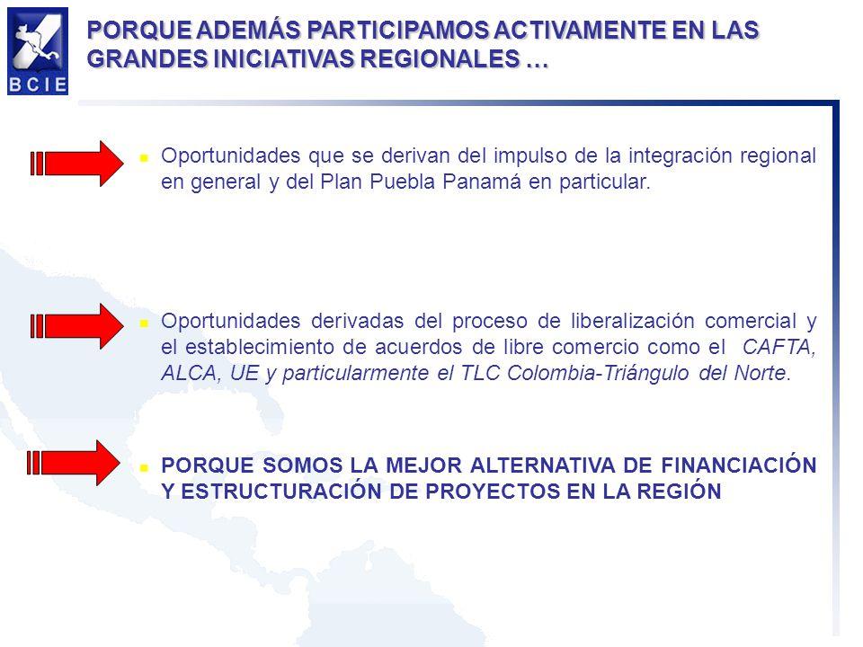 Oportunidades que se derivan del impulso de la integración regional en general y del Plan Puebla Panamá en particular.