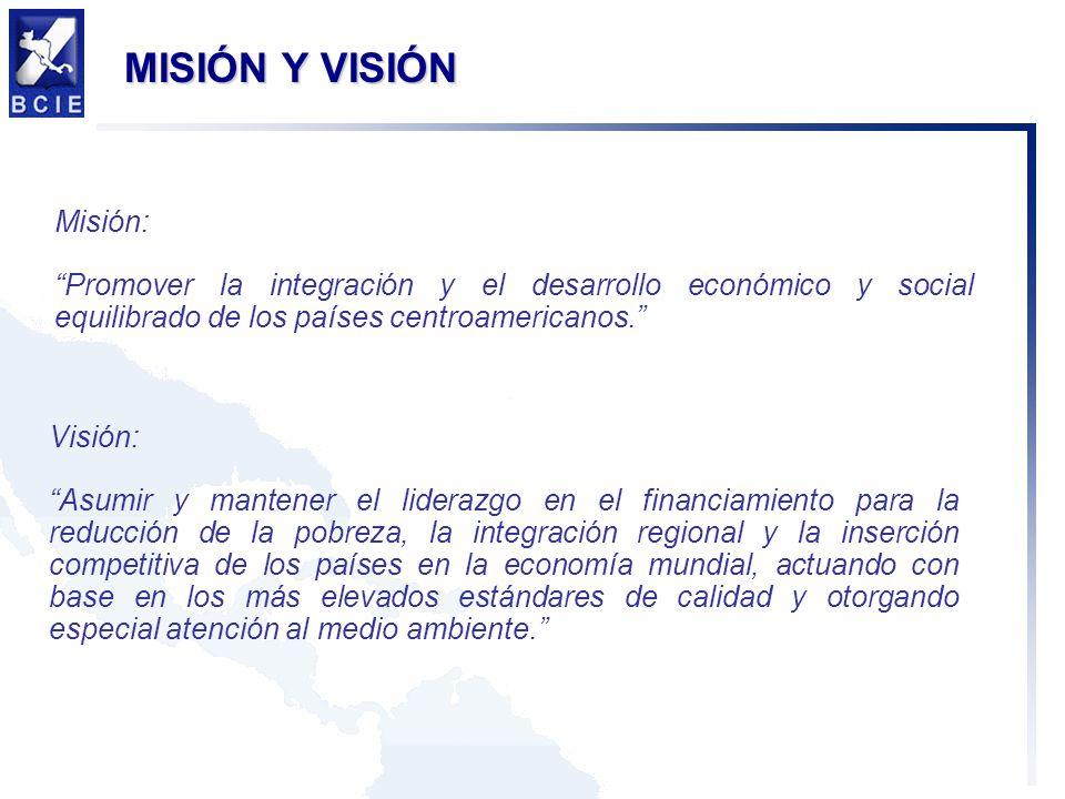 MISIÓN Y VISIÓN Misión: Promover la integración y el desarrollo económico y social equilibrado de los países centroamericanos.