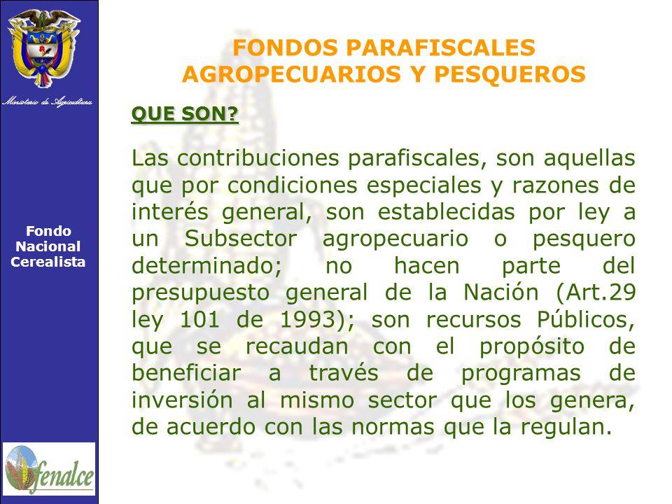 Ministerio de Agricultura Fondo Nacional Cerealista FONDOS PARAFISCALES AGROPECUARIOS Y PESQUEROS QUE SON.