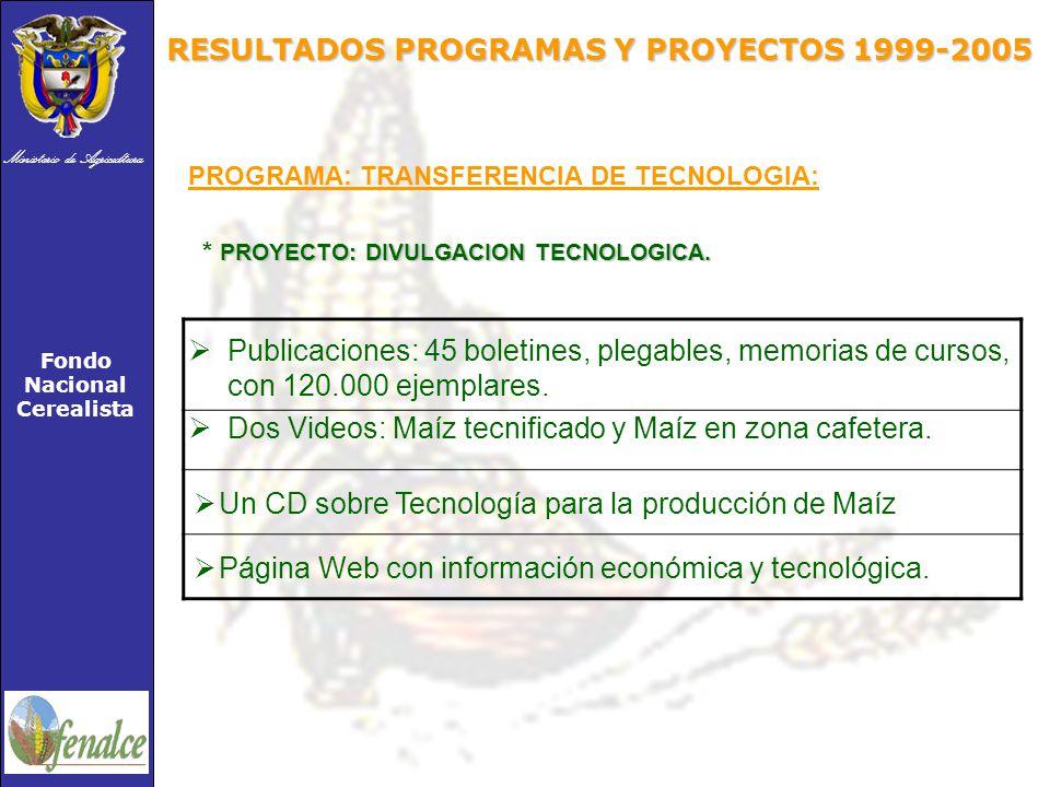 Ministerio de Agricultura Fondo Nacional Cerealista PROGRAMA: TRANSFERENCIA DE TECNOLOGIA: PROYECTO: DIVULGACION TECNOLOGICA.