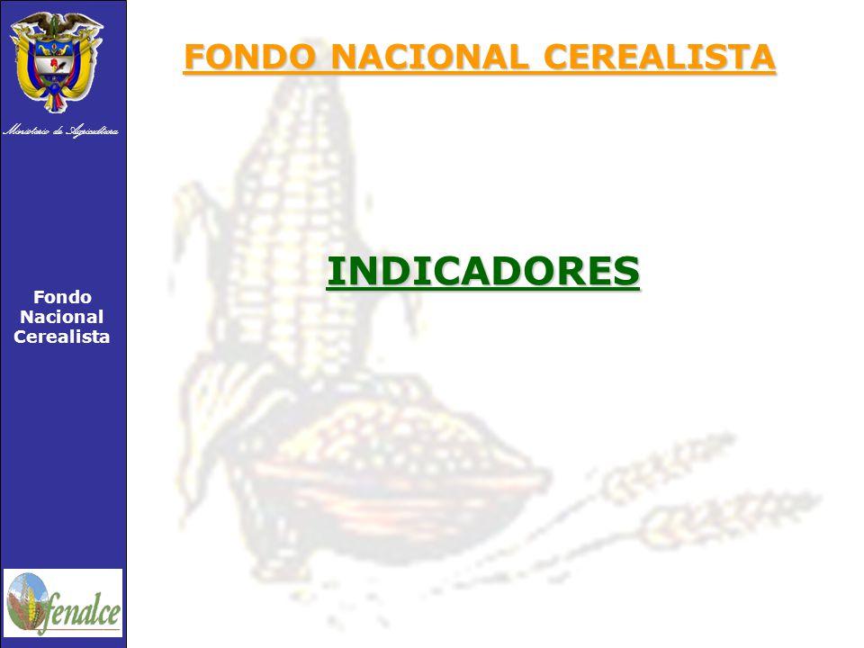 Ministerio de Agricultura Fondo Nacional Cerealista INDICADORES FONDO NACIONAL CEREALISTA