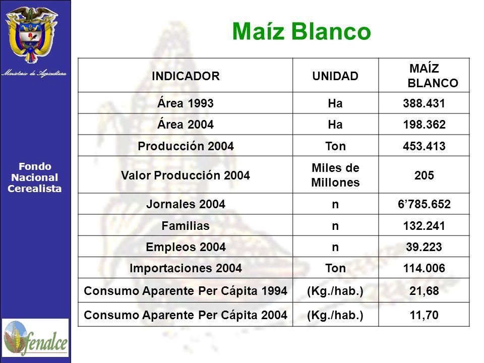 Ministerio de Agricultura Fondo Nacional Cerealista INDICADORUNIDAD MAÍZ BLANCO Área 1993Ha388.431 Área 2004Ha198.362 Producción 2004Ton453.413 Valor Producción 2004 Miles de Millones 205 Jornales 2004n6785.652 Familiasn132.241 Empleos 2004n39.223 Importaciones 2004Ton114.006 Consumo Aparente Per Cápita 1994(Kg./hab.)21,68 Consumo Aparente Per Cápita 2004(Kg./hab.)11,70 Maíz Blanco
