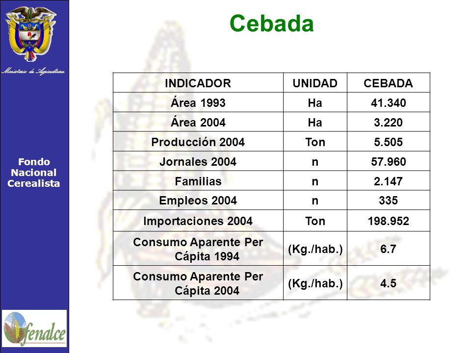 Ministerio de Agricultura Fondo Nacional Cerealista INDICADORUNIDADCEBADA Área 1993Ha41.340 Área 2004Ha3.220 Producción 2004Ton5.505 Jornales 2004n57.960 Familiasn2.147 Empleos 2004n335 Importaciones 2004Ton198.952 Consumo Aparente Per Cápita 1994 (Kg./hab.)6.7 Consumo Aparente Per Cápita 2004 (Kg./hab.)4.5 Cebada