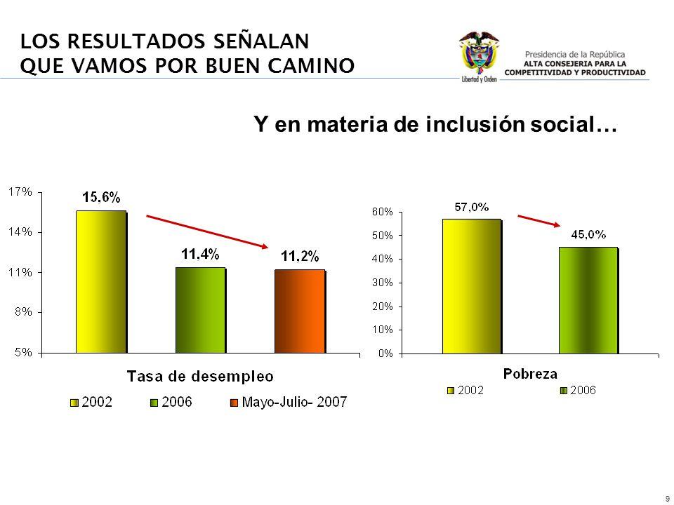 9 Y en materia de inclusión social…