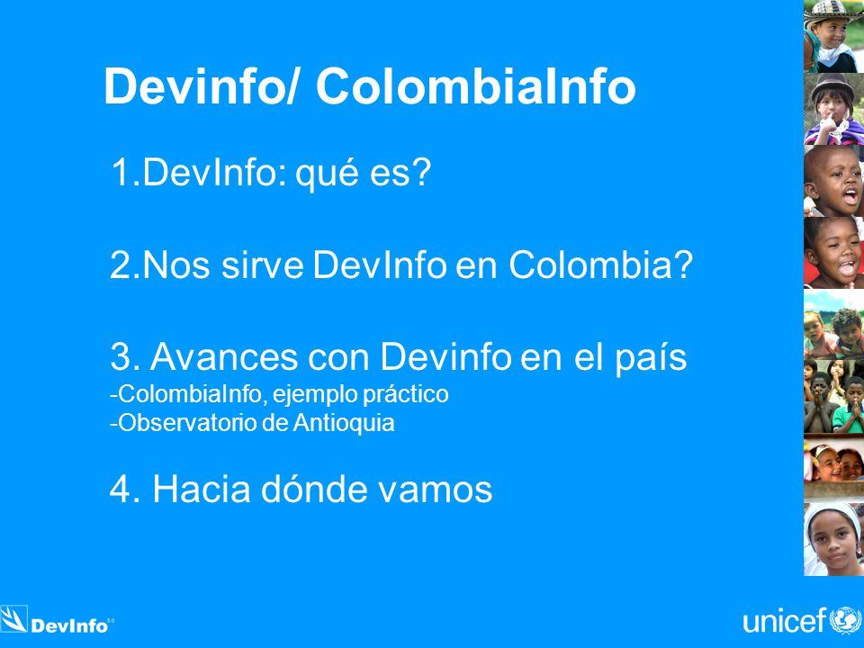 Devinfo/ ColombiaInfo 1.DevInfo: qué es? 2.Nos sirve DevInfo en Colombia? 3. Avances con Devinfo en el país -ColombiaInfo, ejemplo práctico -Observato