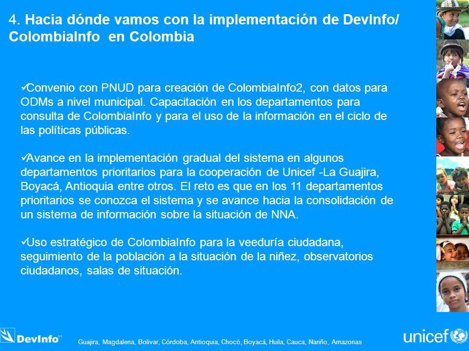 Convenio con PNUD para creación de ColombiaInfo2, con datos para ODMs a nivel municipal. Capacitación en los departamentos para consulta de ColombiaIn