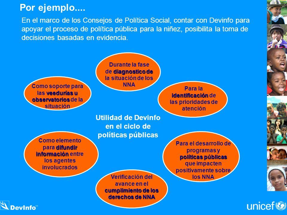 Por ejemplo.... En el marco de los Consejos de Política Social, contar con Devinfo para apoyar el proceso de política pública para la niñez, posibilit