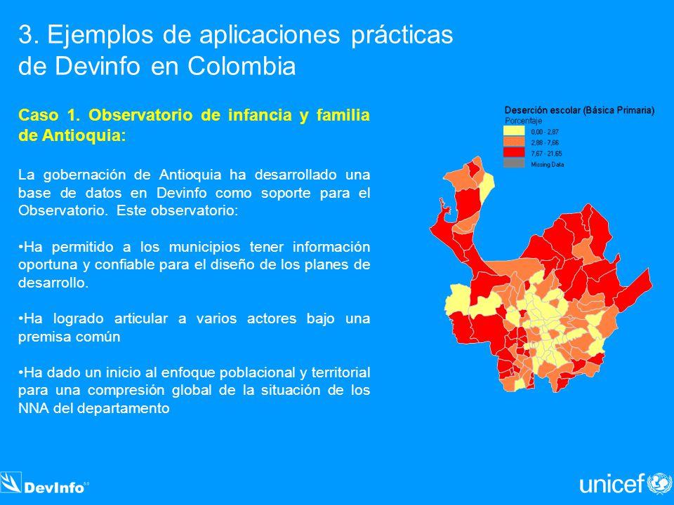 3. Ejemplos de aplicaciones prácticas de Devinfo en Colombia Caso 1. Observatorio de infancia y familia de Antioquia: La gobernación de Antioquia ha d