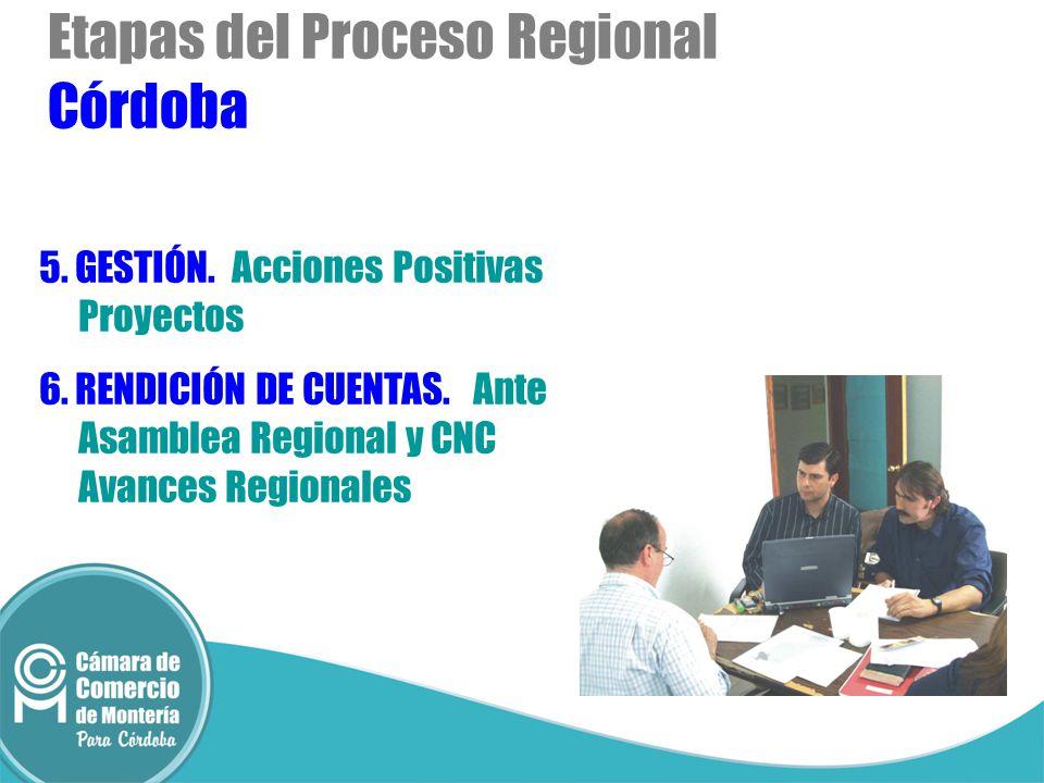 Etapas del Proceso Regional Córdoba 5. GESTIÓN. Acciones Positivas Proyectos 6. RENDICIÓN DE CUENTAS. Ante Asamblea Regional y CNC Avances Regionales