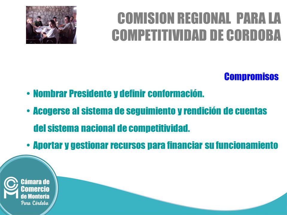 Compromisos Nombrar Presidente y definir conformación. Acogerse al sistema de seguimiento y rendición de cuentas del sistema nacional de competitivida