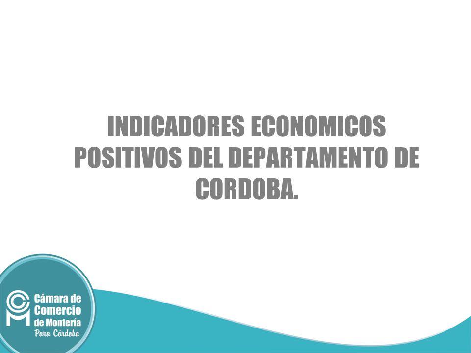 INDICADORES ECONOMICOS POSITIVOS DEL DEPARTAMENTO DE CORDOBA.