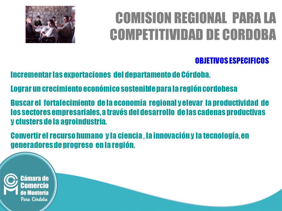 OBJETIVOS ESPECIFICOS Incrementar las exportaciones del departamento de Córdoba. Lograr un crecimiento económico sostenible para la región cordobesa B