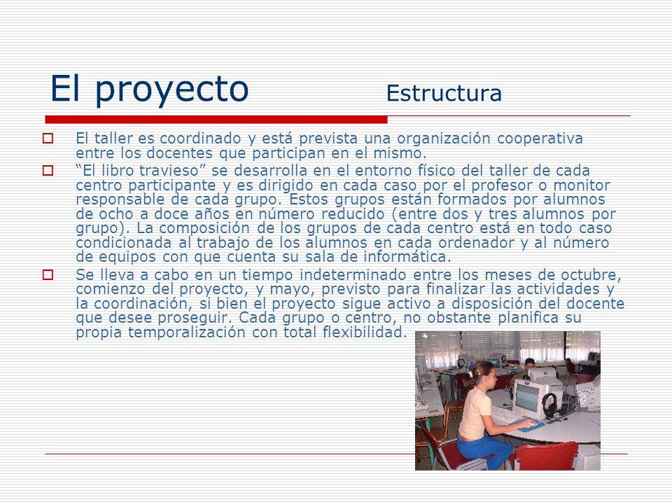 El proyecto Estructura El taller es coordinado y está prevista una organización cooperativa entre los docentes que participan en el mismo. El libro tr