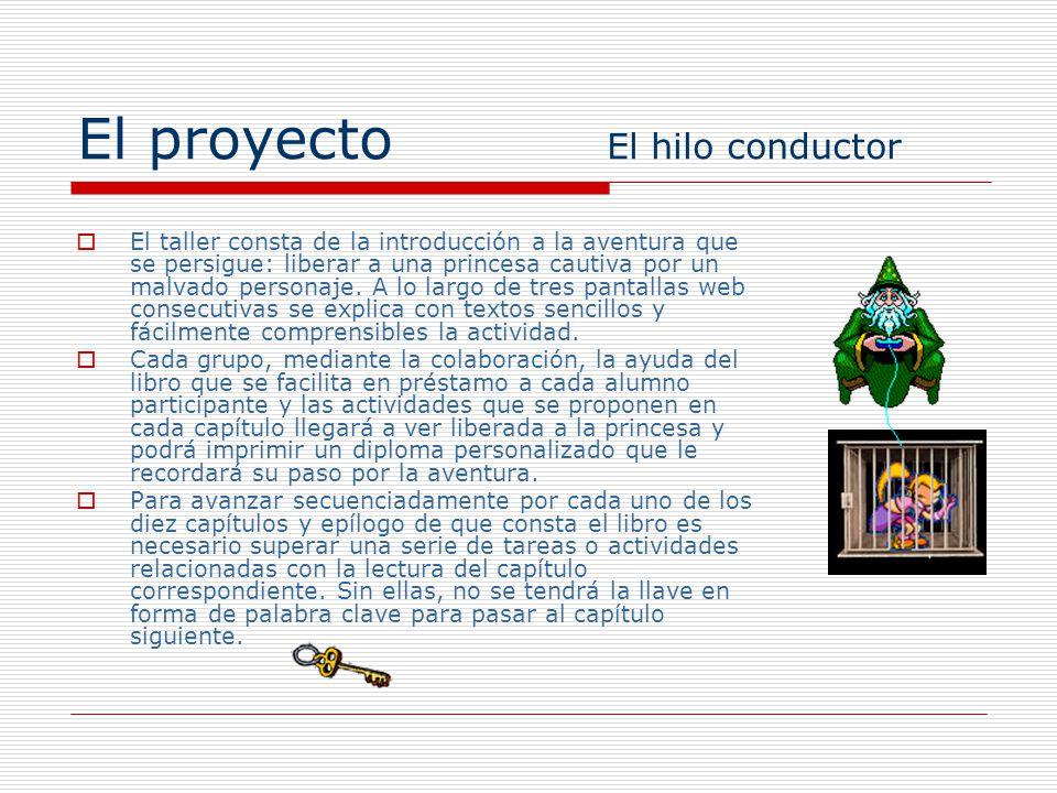 El proyecto El hilo conductor El taller consta de la introducción a la aventura que se persigue: liberar a una princesa cautiva por un malvado persona