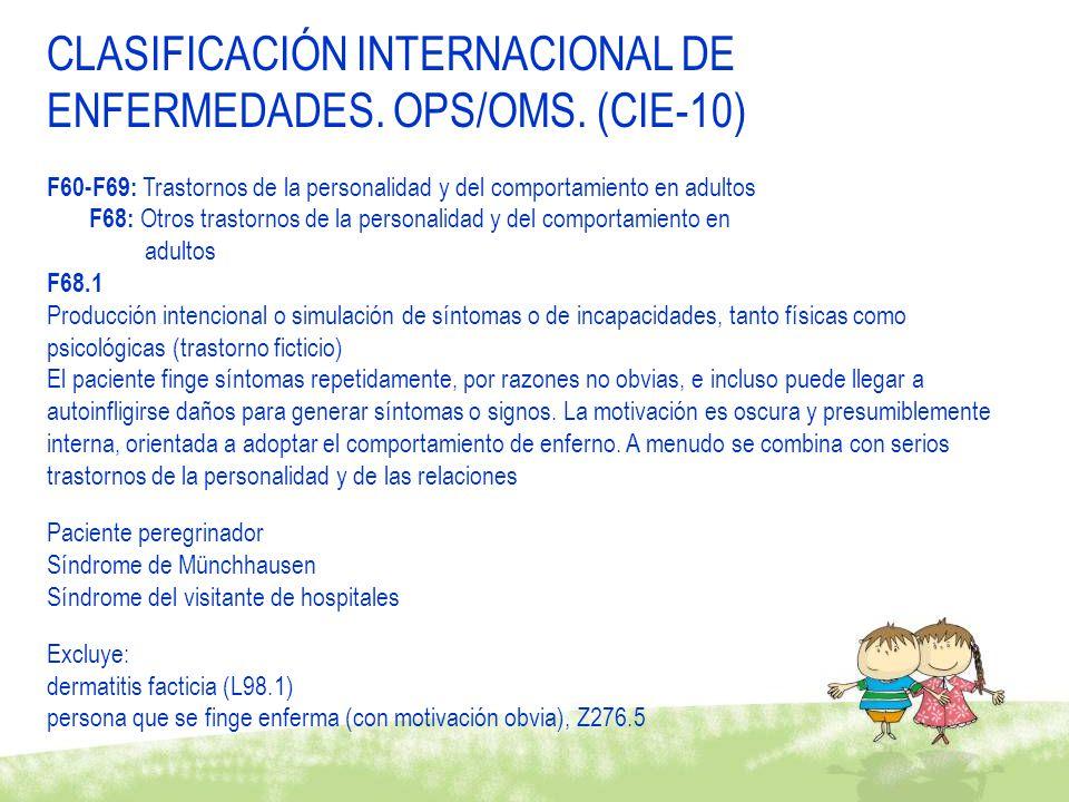 CLASIFICACIÓN INTERNACIONAL DE ENFERMEDADES.OPS/OMS.